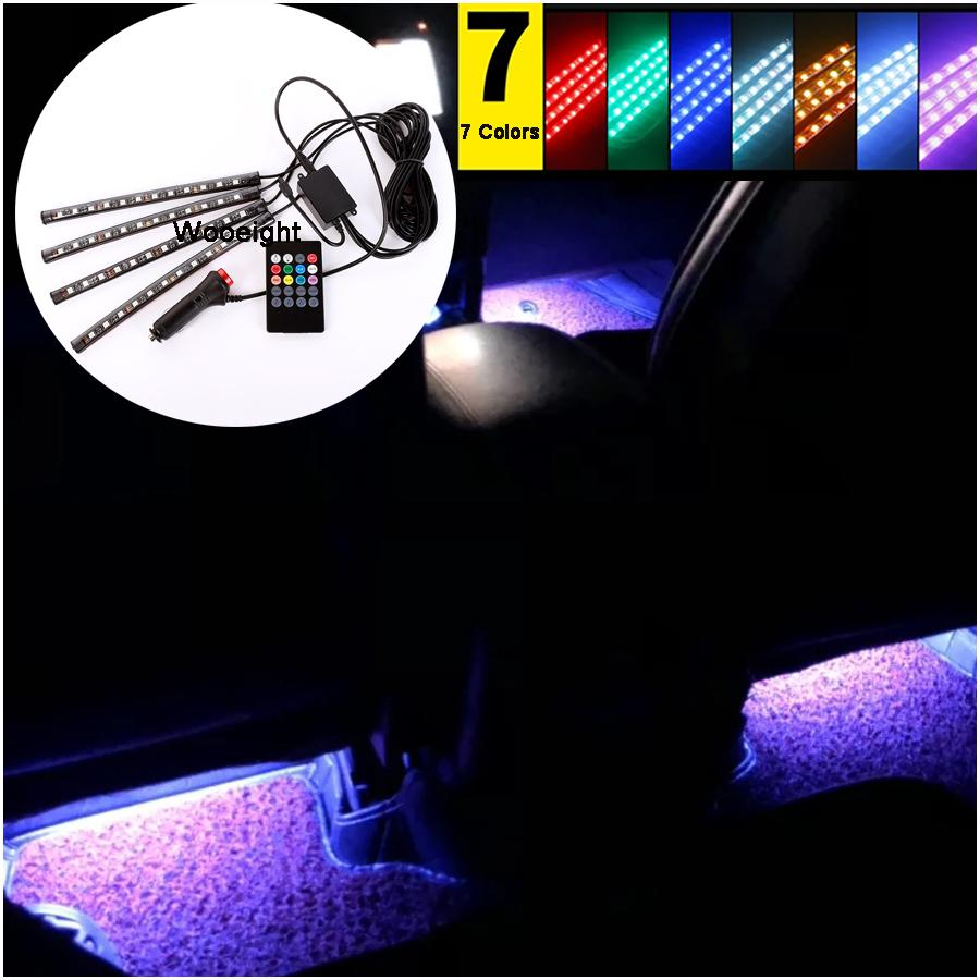 4Pc/Set LED Car Interior Strip Lighting Kit Styling Interior Decorative Atmosphere Light Lamps Wireless Remote/Sound Control