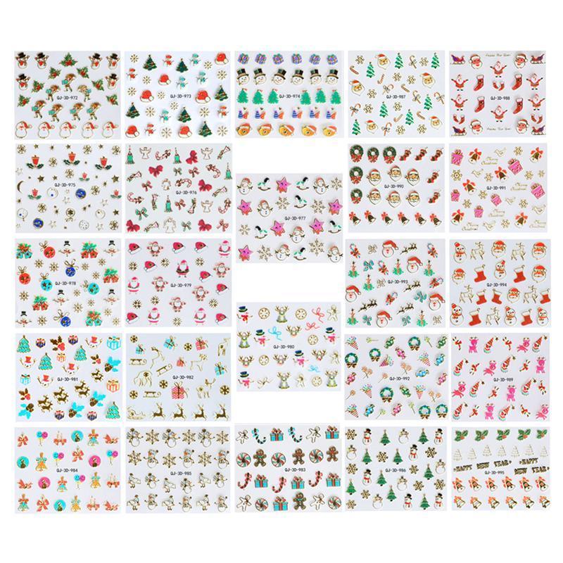 Großhandel 24 Blatt Weihnachten Nail Art Sticker Selbstklebende