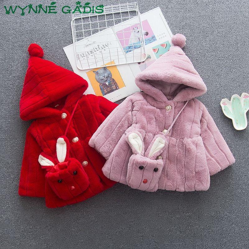 aabc4709d5e78 Winter Baby Girls Faux Fur Hooded Thick Fleece Jackets Princess Party  Outerwear Warm Kids Parkas Coat + Rabbit Bag Casaco Puffer Jackets For Kids  Summer ...
