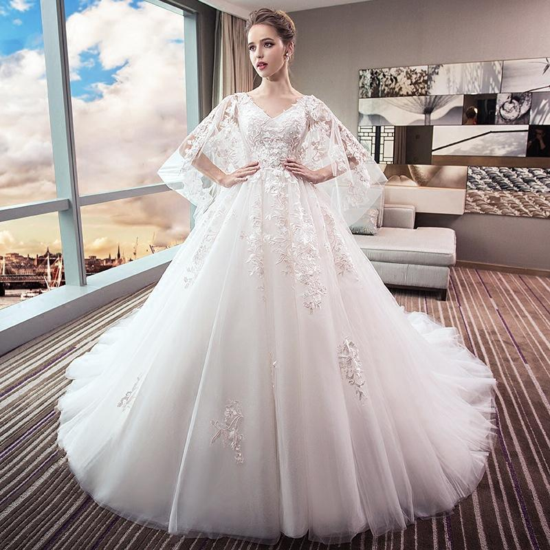 291287fec1c6e Wedding Dress New Bridal Dress Large Size Showing Thin Tail Princess Dream  Pregnant Woman Big Size Fat Mm Pregnant Belly Western Wedding Dresses White  Gowns ...