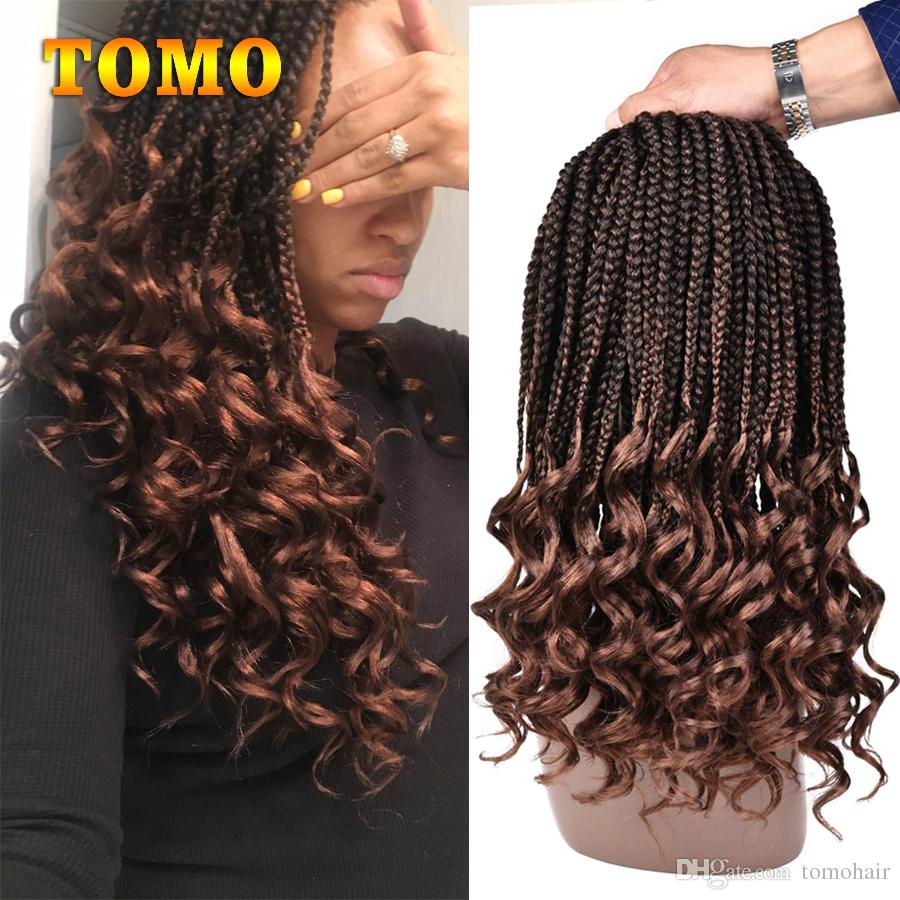 14 18Inch Crochet Hair Box Braids Curly Ends Ombre Kanekalon Synthetic Hair  for Braid 22 Strands Braiding Hair Extensions