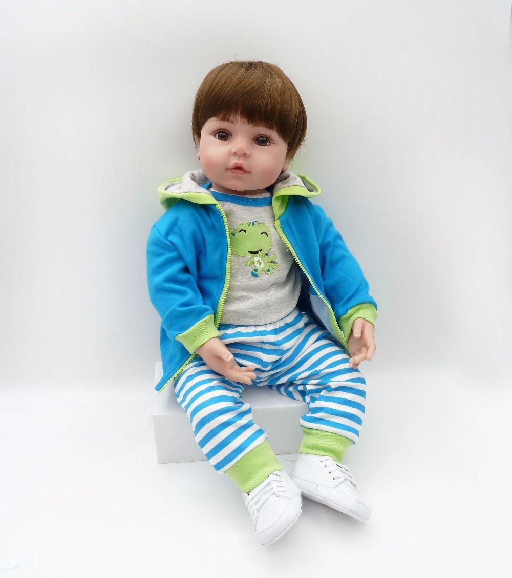 Bebe New 16 Inches 40cm Silicone Doll Reborn Baby Kawaii Kids Toys Girls Boneca Alive Reborn Brown Hair Wig Gift Dolls Brinquedo Toys & Hobbies