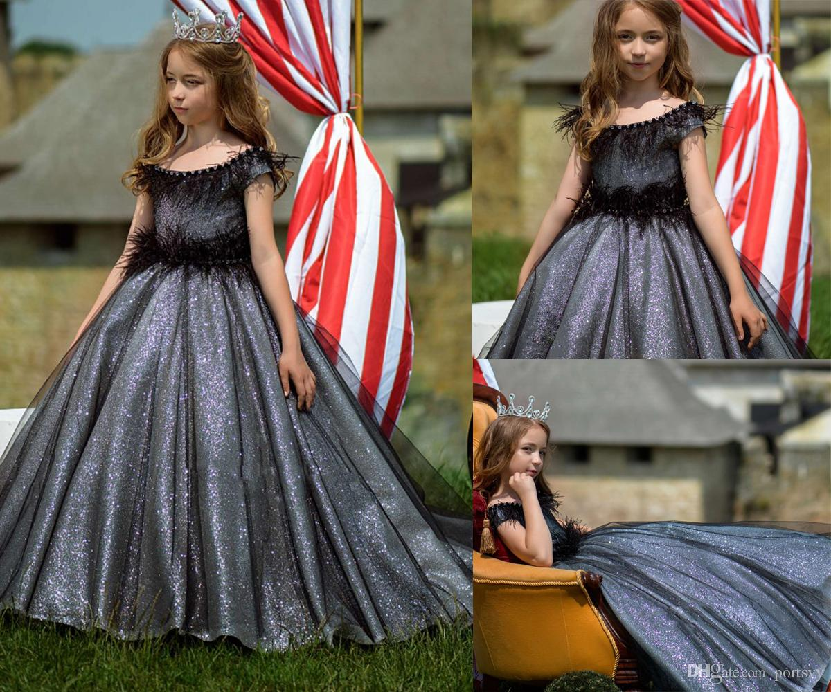 fc4ae381a1e2 Black Shiny Long Trailing Flower Girl Dresses Girls Dresses For Party And  Wedding Pageant Evening Birthday Party Girls Gowns Little Flower Girl  Dresses ...