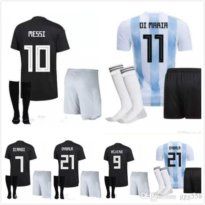 hot sale online d0a5d 98cff Wholesale New Argentina World Cup kit soccer Jersey 2018 MESSI home DI  MARIA AGUERO thai quality Argentina football shirts 2018