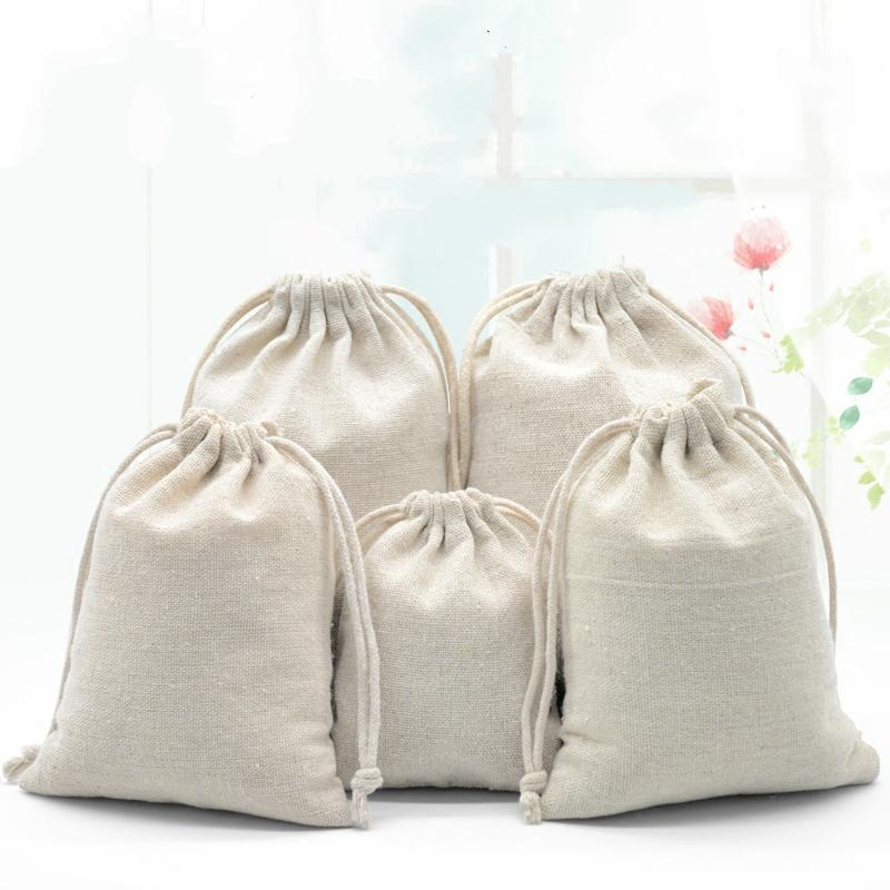 1014f7cfe Compre Bolsa De Lino Natural Para Empaquetado Joyería / Maquillaje / Regalo  / Boda / Fiesta / Almacenamiento / Bolsos De Tela Bolsas De Tela Con Cordón  ...