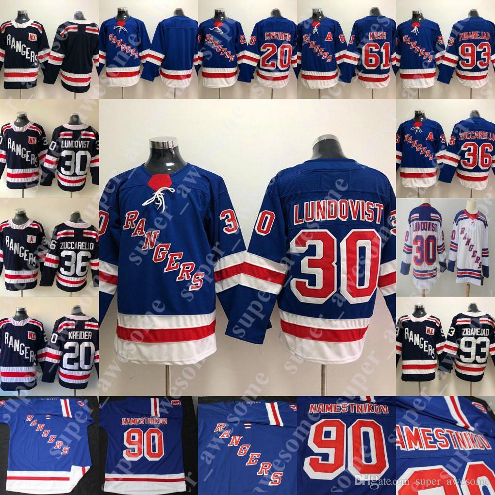 new style a79e0 63266 30 Henrik Lundqvist Jersey 36 Mats Zuccarello 93 Mika Zibanejad 20 Chris  Kreider 61 Rick Nash Hockey Jerseys Men Women Youth Blue White