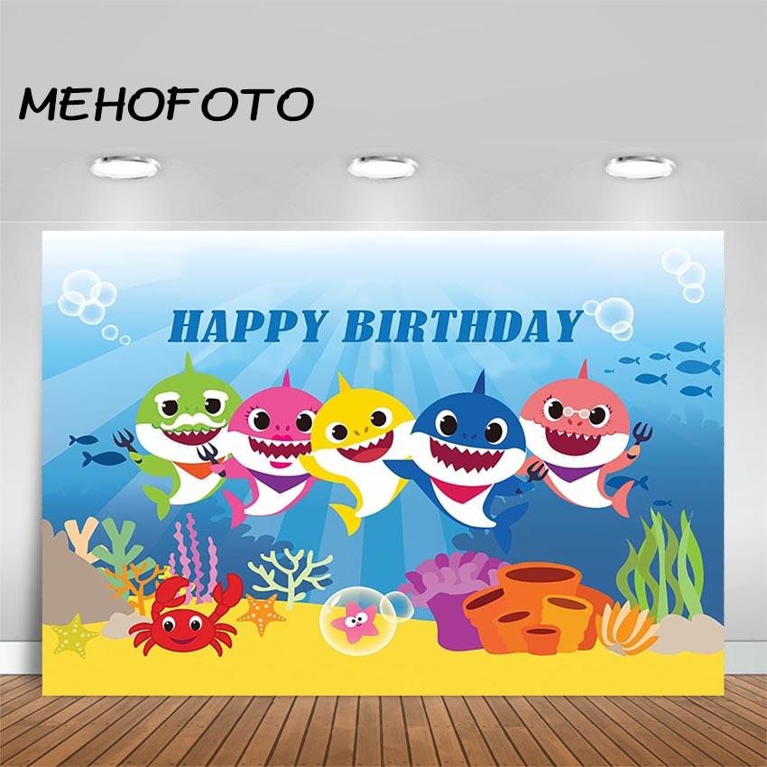 2019 Mehofoto Baby Shark Photography Backdrop Kids Happy Birthday