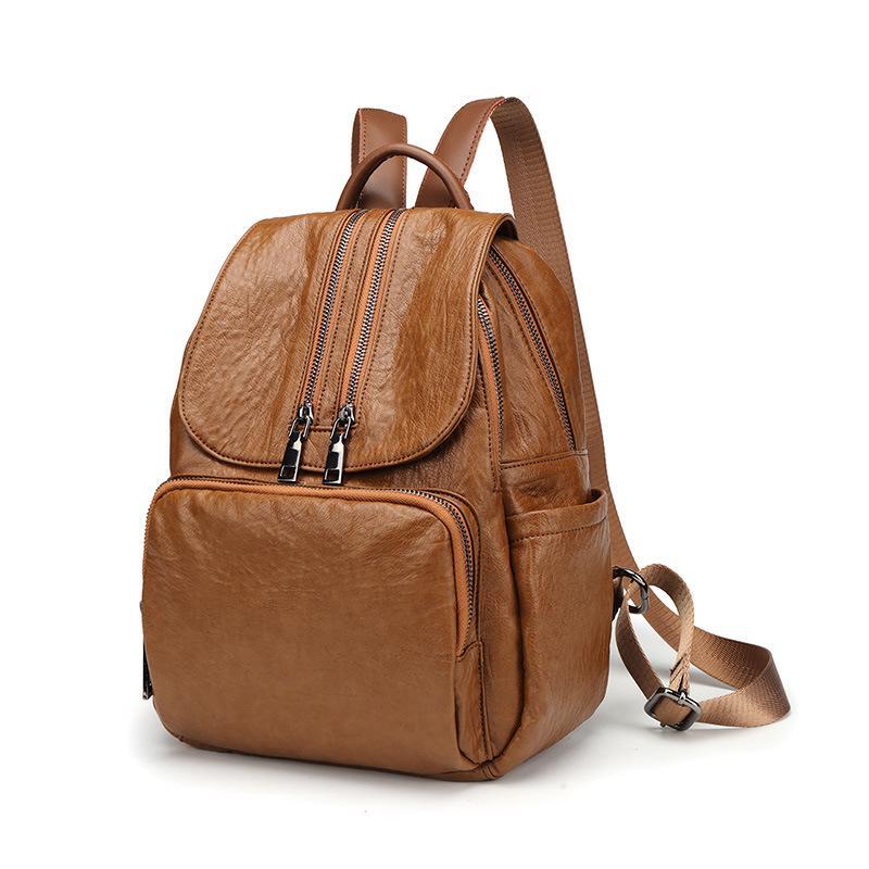 c5917c9a61 Black Brown Famous Brand 100% Genuine Leather Women Backpacks Solid Ladies Travel  Bag Preppy Schoolbags For Girls Knapsack C627 Hunting Backpacks Gregory ...