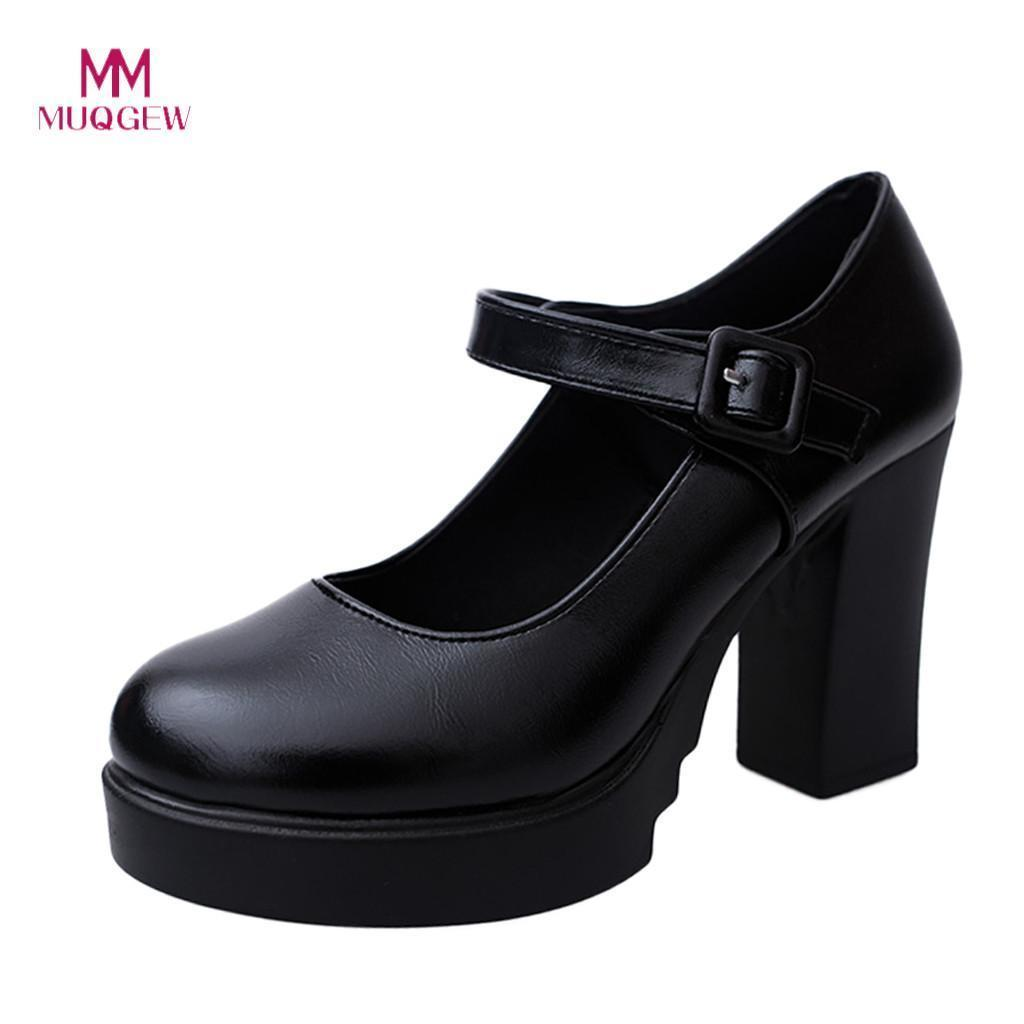 40189b709a Dress Muqgew Women Casual High Heels Shoes New Thick Heels Platform Black  Pumps Ankle Work Buckle Strap Shoes Woman Zapatos De Mujer Mens Shoes  Online Mens ...
