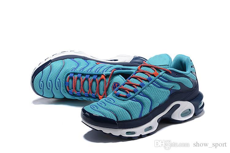 68b182c09bc Compre Moda New Tn Mais Homens Sapato Designer De Sapatos De Corrida  Respirável Formadores Mens Sports Schuhe Azul Ocasional Ao Ar Livre Dos  Homens Do ...