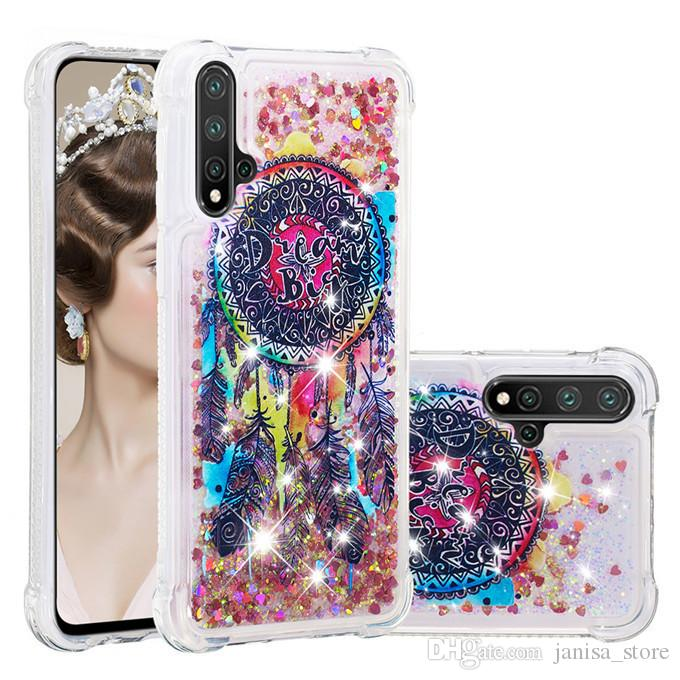 New case for Huawei Nova 5 5pro mobile phone case TPU cartoon painted love glitter powder sand shell anti-fall protective shellova