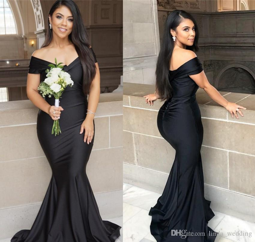 2019 Black Bridesmaid Dress Cheap Off Shoulder Summer Country Garden Formal  Wedding Party Guest Maid Of Honor Gown Plus Size Custom Made Plum Colored  ... aebd92f3e344
