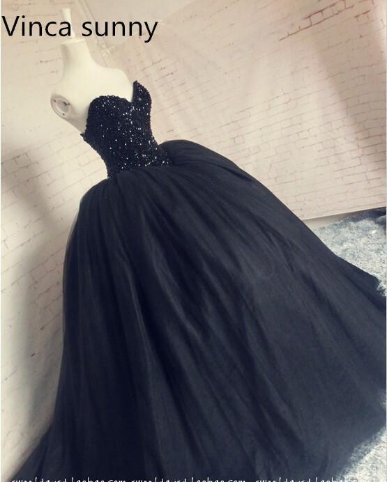 2356d5adf4 2019 New Vestido De Festa Ball Gown Sweetheart Sleeveless Floor Length  Dresses Black Long Prom Dresses Robe De Soiree Courte Y19042701