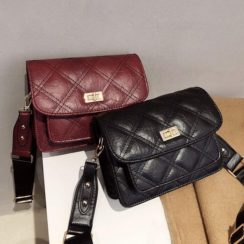 Korean Bag Woman Crossbody Clutch Purse Pu Leather Handbag Chain Satchels Small  Tote Vintage Wide Strap Diamond Lattice 2018 Leather Bags For Men Evening  ... ad7fc1479a754