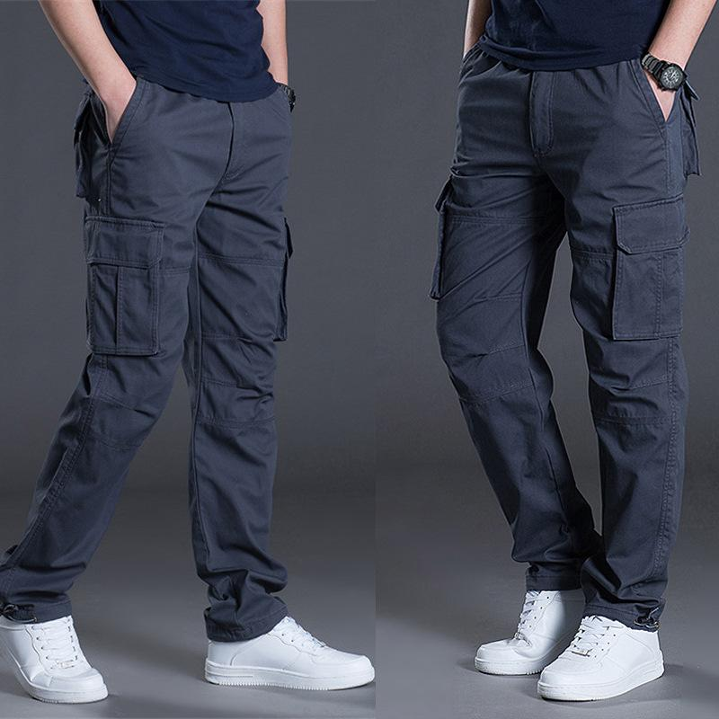 a48190d2f4 Pantaloni cargo tascabili uomo casual nero Army Zipper Tacital Pantaloni  uomo salopette 2019 Autunno Plus Size Xxxl