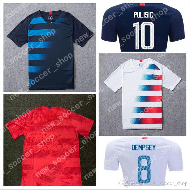 b19cb5688 2019 10 PULISIC Jersey America Soccer Jerseys 18 19 USA 8 DEMPSEY 4 BRADLEY  17 ALTIDORE White United States Shirt Adult Home Football Uniform From ...