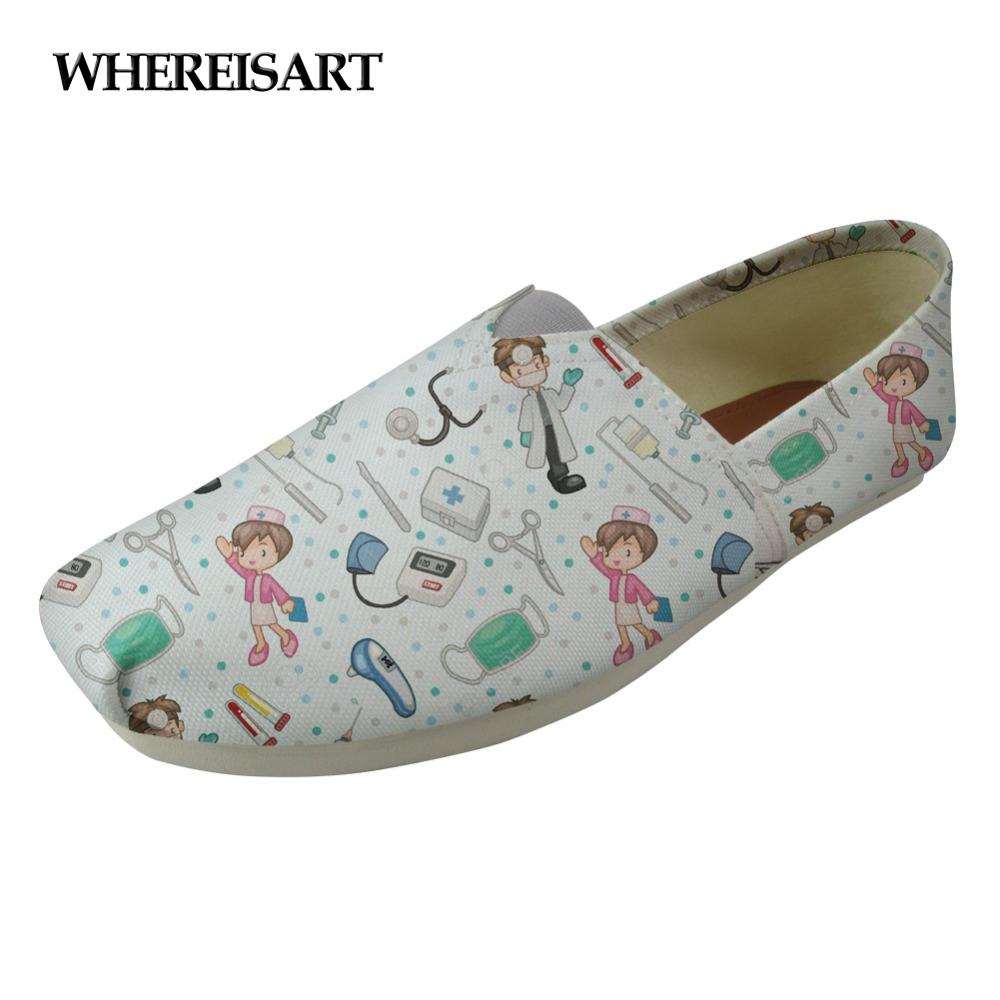 WHEREISART Cute Women Flats Shoes Cartoon Nurse Pattern Ladies Loafers Shoes Woman Casual Female Breathable Nursing Mujer