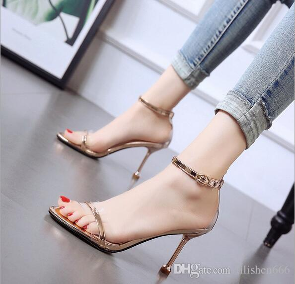 New champagne sandals for women in summer 2019 Korean version of small size open-toed women's shoes with fine heels and high heels