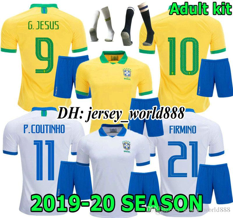 8577273ad83 2019 COUTINHO 2019 America Cup G.JESUS Home Soccer Jersey Adult Kit PELE  CASEMIRO MARCELO FIRMINO PAULINHO 2019 2020 Brazil Away Football Shirt From  ...