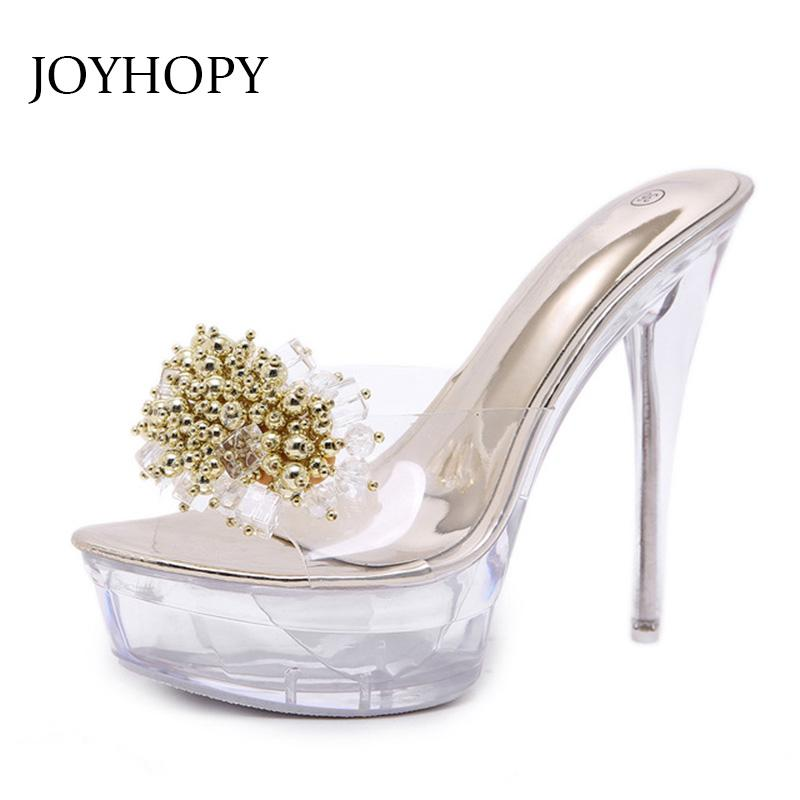 84791868ce50 2018 Sexy String Bead Crystal High Heel Sandals Women Transparent Rhinestone  Platform Pumps Woman Wedding Party Shoes WS1742 Nude Shoes High Heel Shoes  From ...