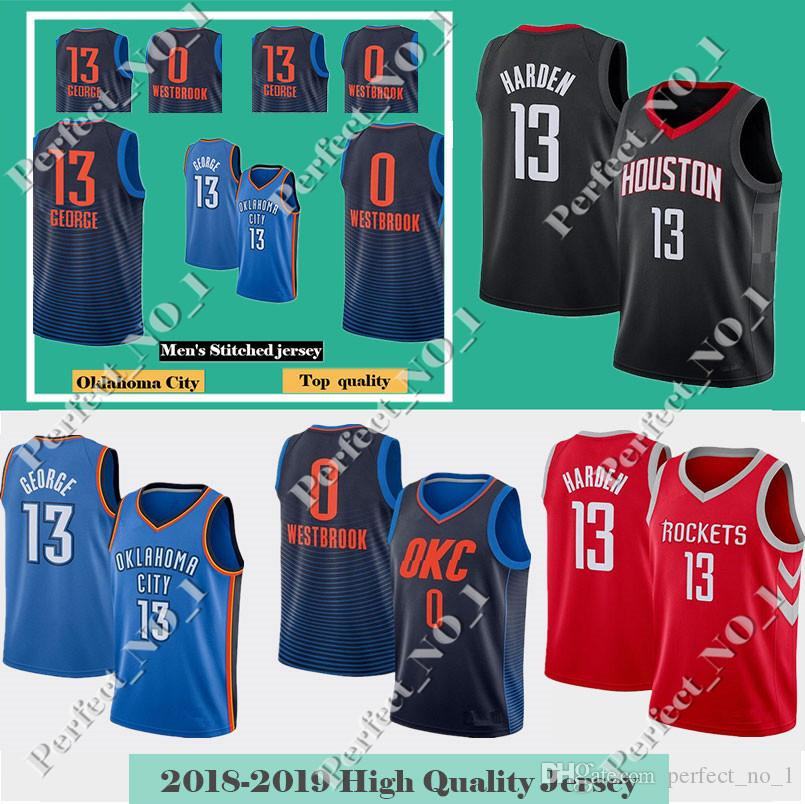 9bddcdd06 2019 Men S Oklahoma City Russell 0 Westbrook Paul 13 George Thunder Jersey  Basketball Jersey James 13 Harden Rockets 3 Paul Stitched Jerseys From ...