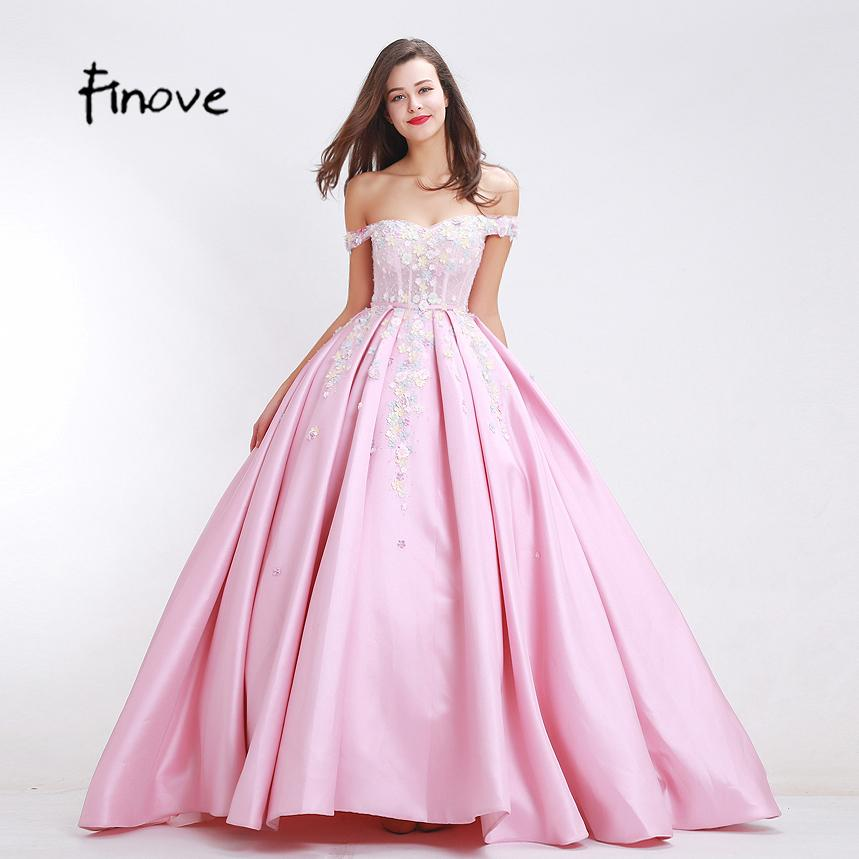 Finove Flowers Appliques Prom Dresses New Arrival 2019 Autumn Elegant ball Gowns Floor-Length Sexy Off Shoulder Long Dresses 12871