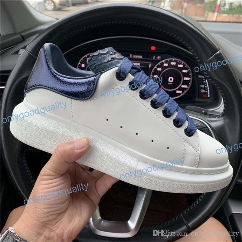 2019 Mens Designer shoes white leather 3M reflective casual for girl women black blue red fashion comfortable flat sports sneaker size 35-46