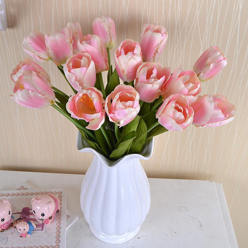 20pcs/lot Simulation Tulips Artificial Silk Flowers for Wedding Decoration Farmhouse Home Decoration Accessories Fake flowers DIY Wreath