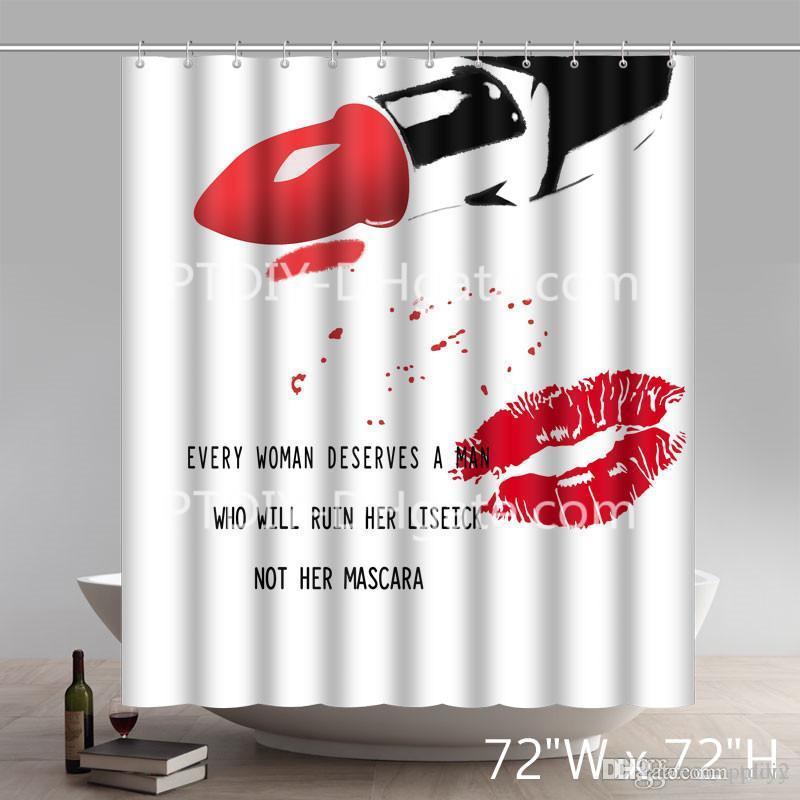 Professional DIY Unique Art Deco Red Lip Bathroom Decorations Print ... 30d27f4ace11