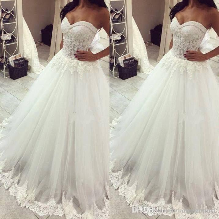a9ddce884d22a 2018 New Lace A Line Wedding Dresses Sweetheart Floor Length Illusion Sleeveless  Bridal Dress Wedding Gowns Custom Made Plus Size Sexiest Mermaid Wedding ...