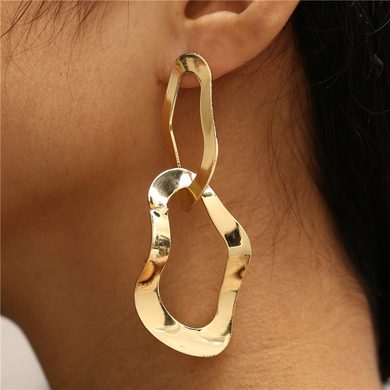 Punk Irregular Hollow Dangle Earrings 2019 New Fashion Gold Metal Big Earrings For Women Geometric Statement Earings Jewelry