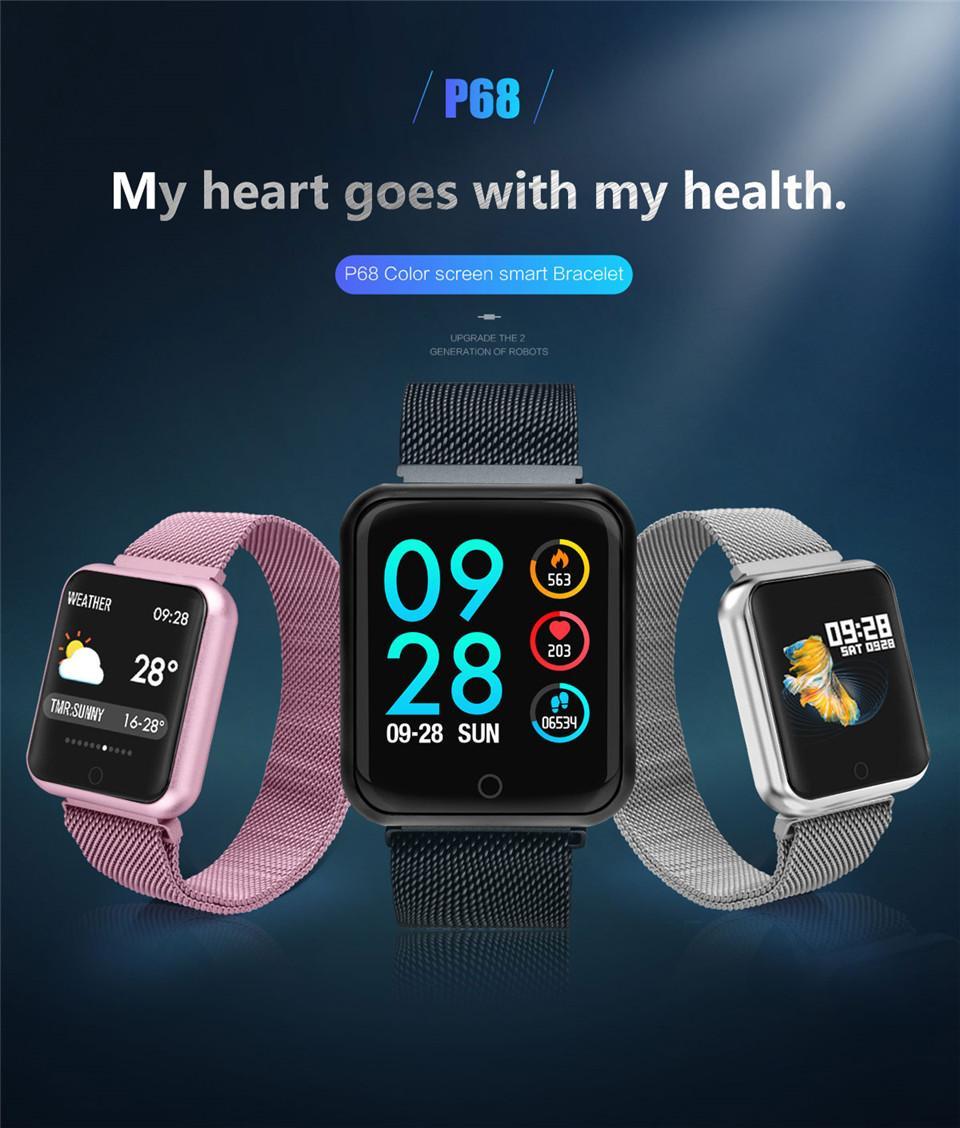 Ip68 Android Para Apple P68 Deportes Actividad Reloj Monitor Iphone Frecuencia Inteligente Arterial Fitness Cardíaca Ios Pulsera De DWeE9YH2Ib