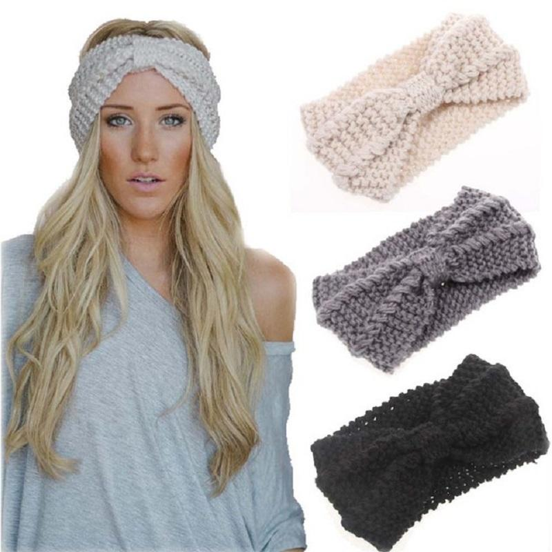 15Colors Winter Warmer Ear Knitted Headband Turban for Lady Women Crochet Bow Wide Stretch Hairband Headwrap Hair Accessories Cheap