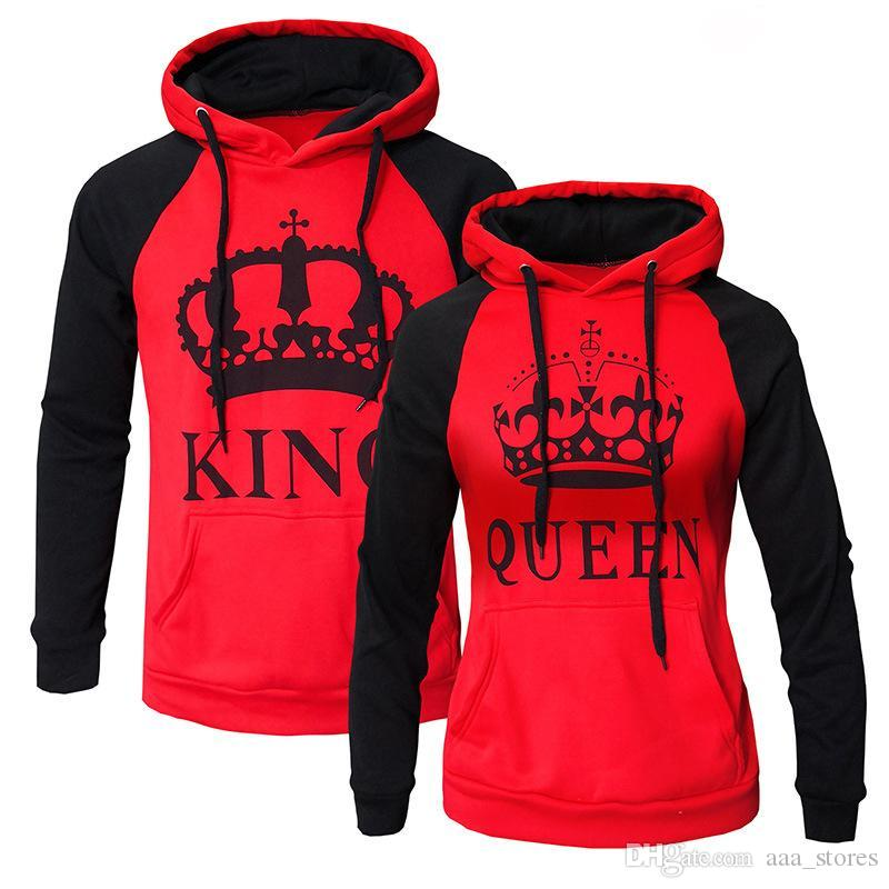 5a02d3ae5b74 2019 Red Gray Lover Couples King Queen Front Pocket Hoodies Cotton Pullover  Men Women Sweatshirt Outerwear Drop Shipping Sportswear From Aaa stores