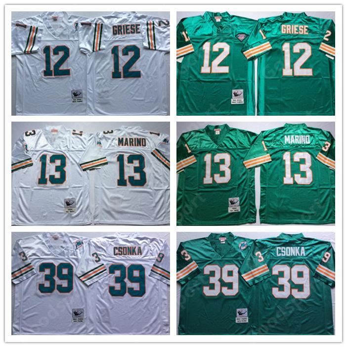 promo code 3d9de dc0b3 RETRO Miami jerseys Dolphin WHITE GREEN 12 BOB GRIESE 39 LARRY CSONKA 13  DAN MARINO FOOTBALL shirts classic Sport HOT vintage
