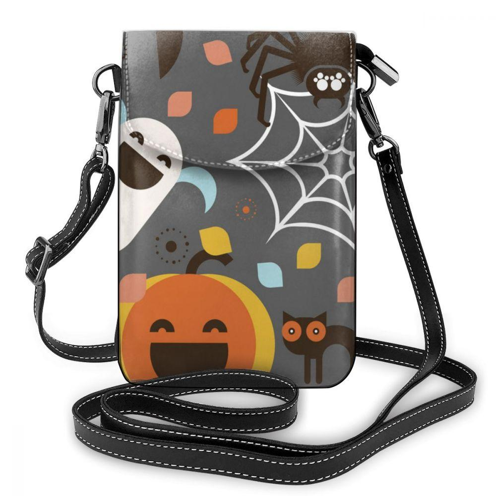wholesale Halloween Leather Cell Phone Bag Shoulder Pocket Wallet Pouch Case Neck Strap For Samsung For iPhone 7 For Huawei