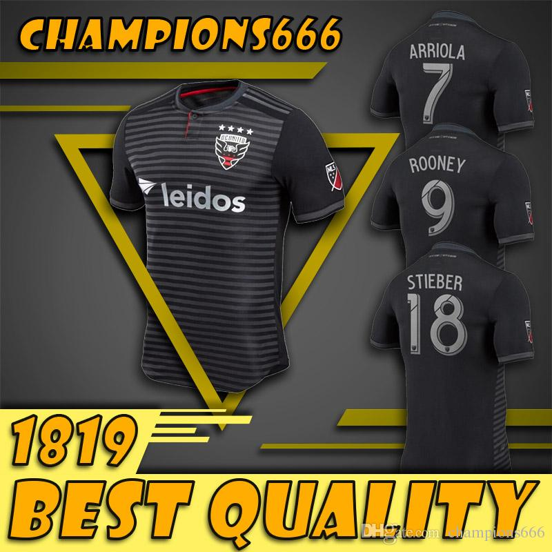 52871bc71ad 2019 18 19 D.C. United Soccer Jersey 2018 Major League Soccer Home Black  9  ROONEY Soccer Shirts ACOSTA HARKES ARRIOLA STIEBER Football Uniform From ...