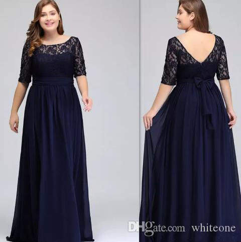 Dark Navy Plus Size Bridesmaid Dresses With half Sleeves A-line Sheer lace  Maid Of Honor Gowns For Wedding custom made chiffon Cheap gowns