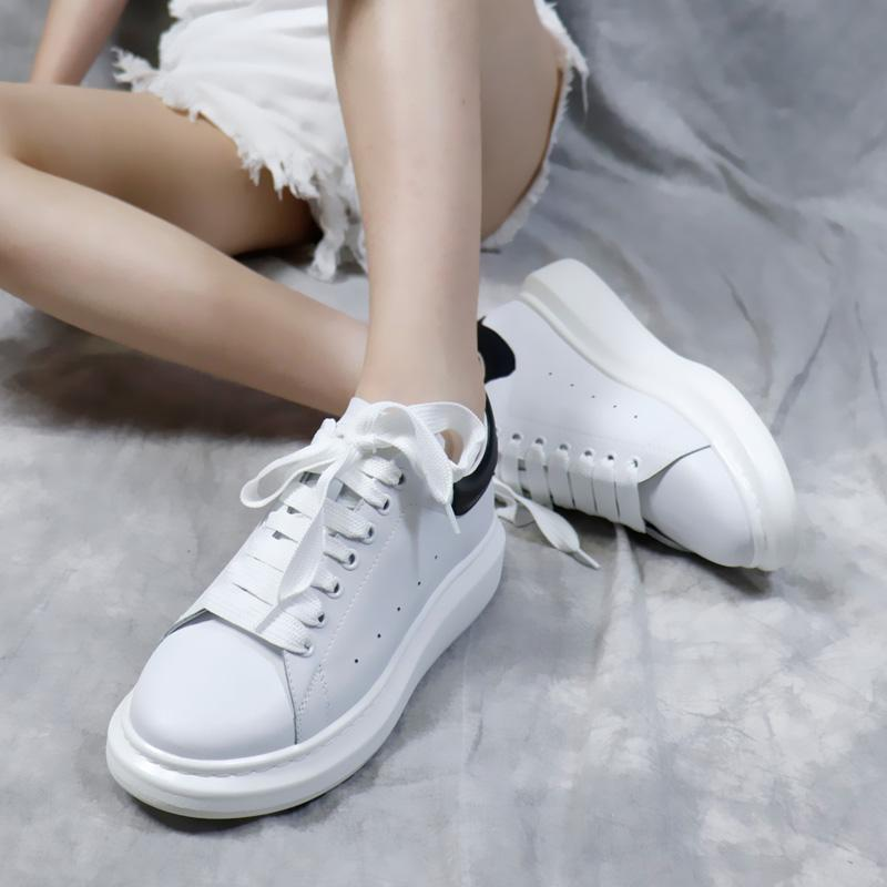 New Season Designer Shoes Fashion Luxury Women Shoes Men's Leather Lace Up Platform Oversized Sole Sneakers White Black Casual Shoes
