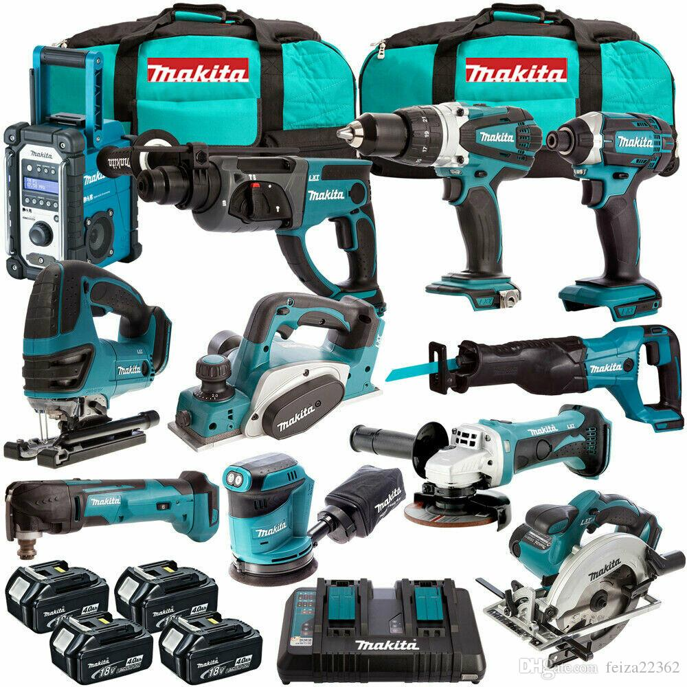 2019 makita mak18v lxt li ion power tool kit with 4 x 4ah batteries charger from feiza22362
