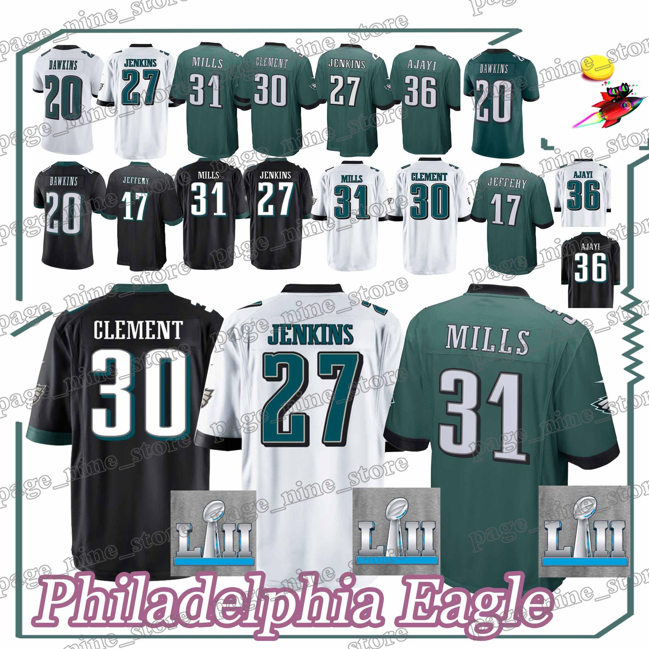 cheap for discount 99ed8 6470b Philadelphia Eagle jerseys 27 Malcolm Jenkins 30 Corey Clement 31 Jalen  Mills 20 Brian Dawkins 2018 new men Jersey sportswear