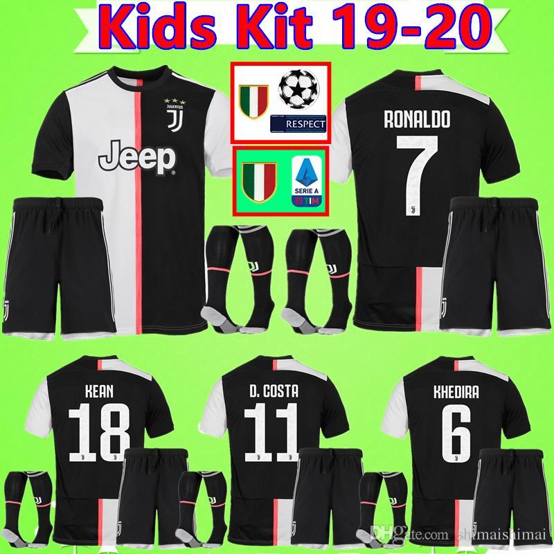 Kinder Kit RONALDO DYBALA 19 20 NEUES Fußball Trikot Juventus Fußball Trikot Set MANDZUKIC Kind CHIELLINI Camiseta 2019 2020 Jungenanzug maillot