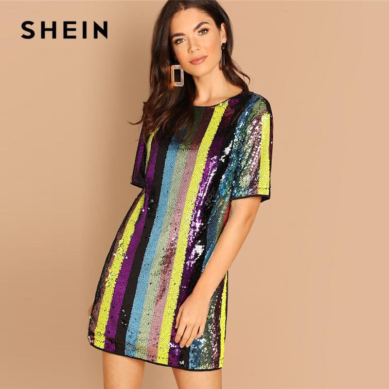 1ed9eb96c1 SHEIN Multicolor Striped Sequin Tunic Round Neck Short Sleeve Mini Trapeze  Dress Autumn Elegant Modern Lady Women Dresses Shop For Womens Dresses Lace  Sun ...