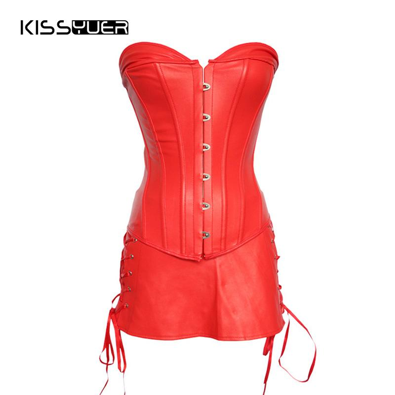 49618f1bba5 2019 Gothic Sexy Red Dress Corset Mujer Plus Size Gorset For Women Korset  Faux Leather Bondage Corset Women Steel Boned From Xx2015