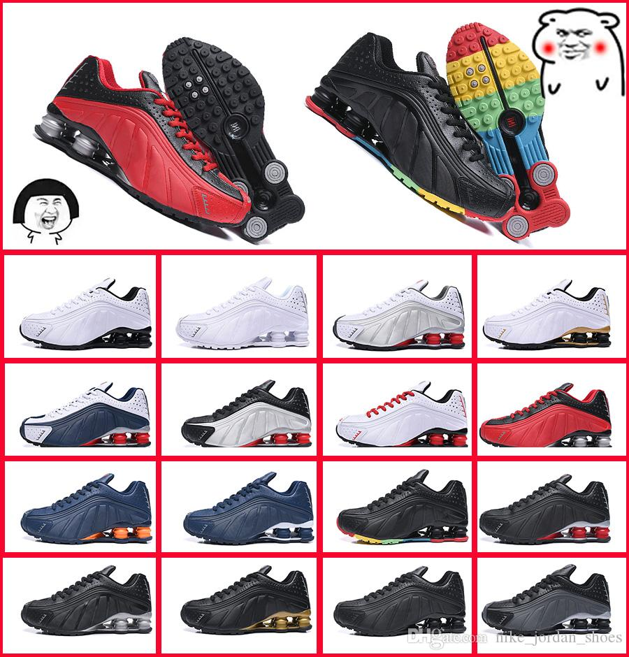 pretty nice e5160 ed0d2 2019 Shox R4 301 OG Metallic Sliver Black Green Yellow Outdoor Sports Shoes  Avenue Deliver Current NZ R4 Multicolor Men Women Designer Sneakers From ...