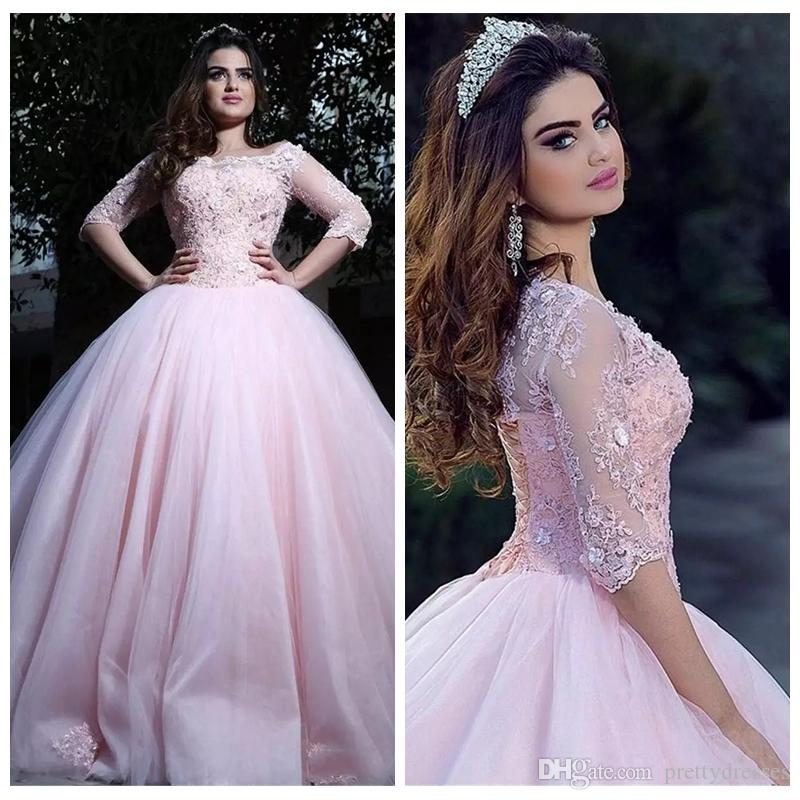 41beca41b86 2019 Half Sleeves Pink Princess Quinceanera Dresses Lace Appliques Ball  Gown Prom Dress For 15 Cheap Sweet Sixteen Prom Party Gowns Custom Fuchsia  ...