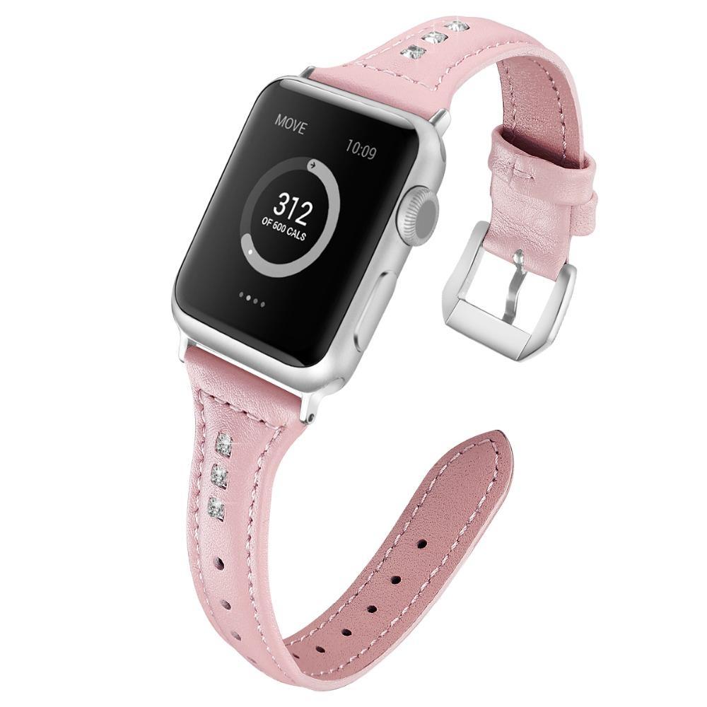 e6d669a6c3c1 Tschick For iWatch Band 38mm 42mm, correa de pulsera de reemplazo de piel  de diamante de diamante de imitación de cristal para Apple Watch serie 3 2  ...