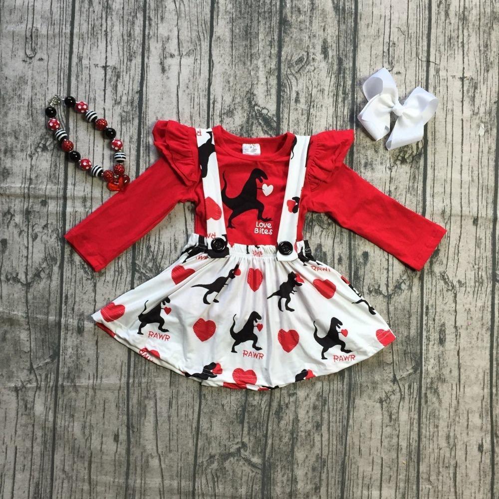 12b844d48 baby girls clothes cotton halter Valentine's day Button Straps SUSPENDER  SKIRT SET dinosaur boutique ruffle match accessories