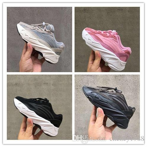 (box) 2019 Kanye West 700 Kids Running Shoes Boys Girls Sneaker 700 Sports Shoes Children Athletic Shoes Grey Black Blue size 28-35