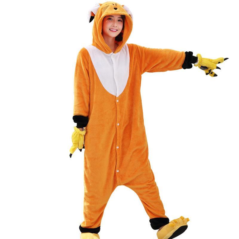 470817035c62 2019 2018 Rushed Kawaii Fox Onesie Animal Adult Men Women Orange Cute  Kigurumi Pajama Overall Halloween Party Jumpsuit Soft Flannel Sleep Costume  From Home5 ...